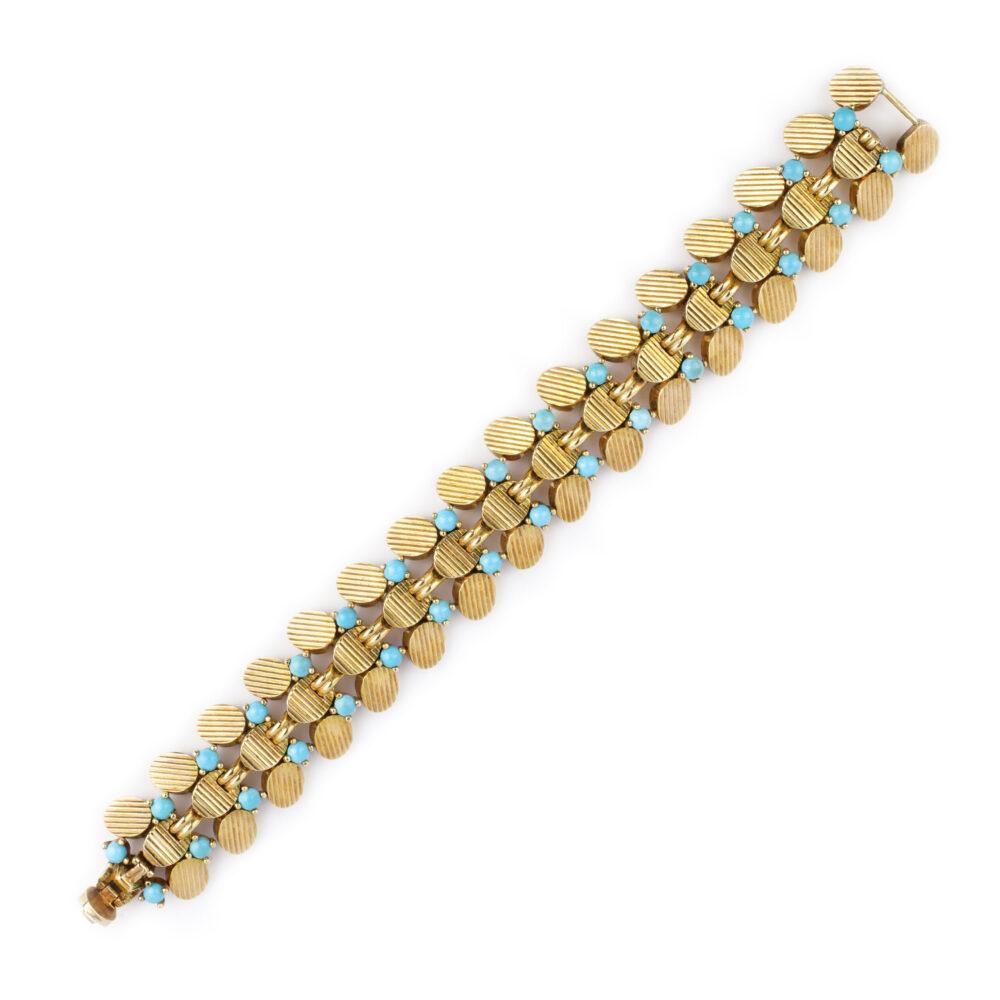Boucheron Turquoise and Textured Gold Bracelet