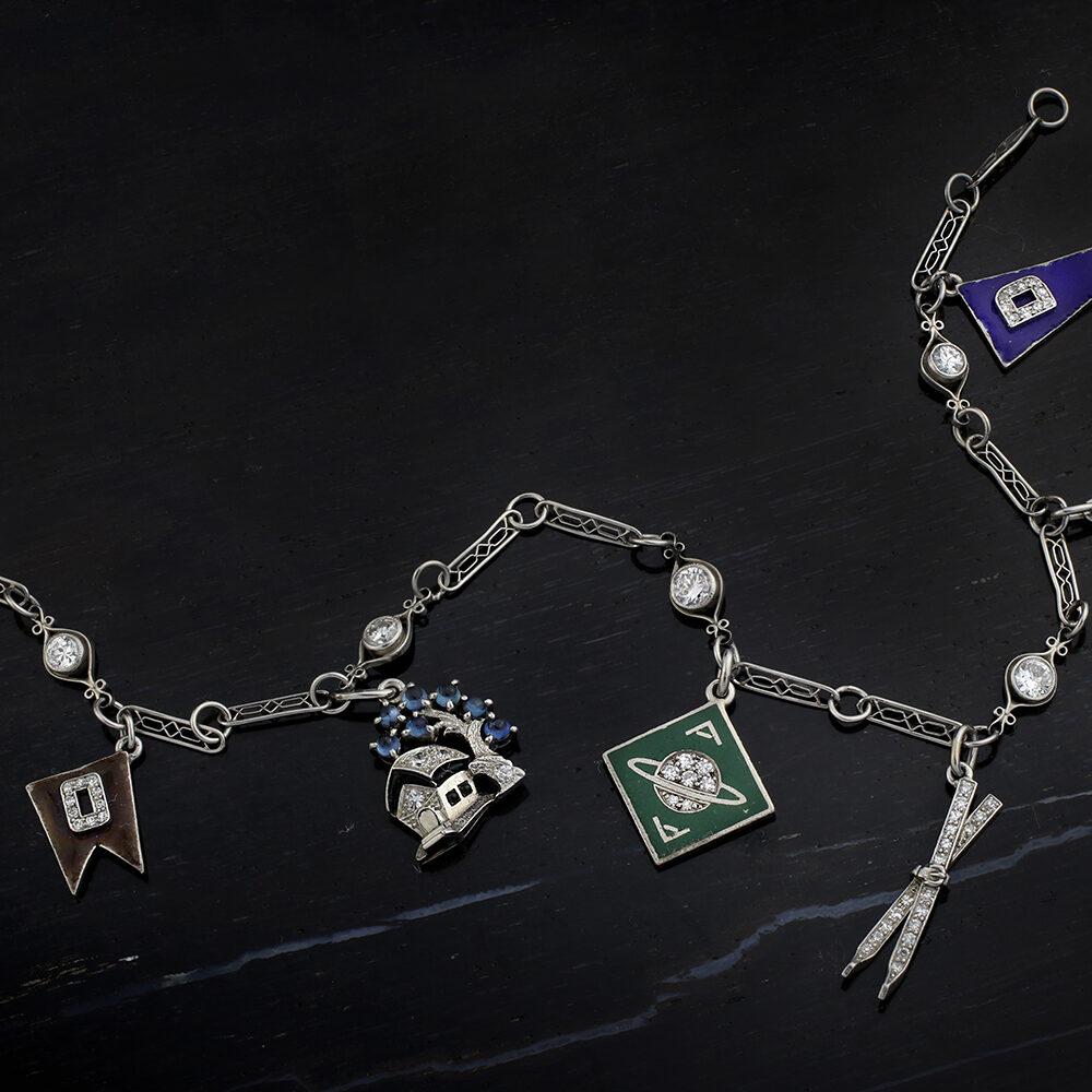 Art Deco Diamond Multi-Gem and Enamel Charm Bracelet