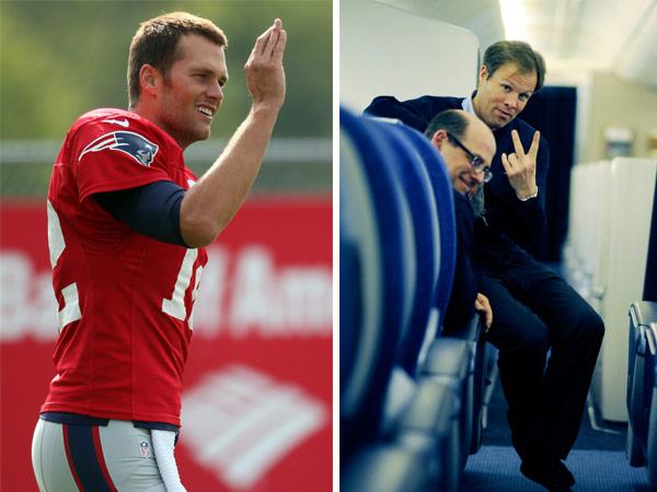 Tom Brady Waves Patriots Tom Bradby Peace Sign