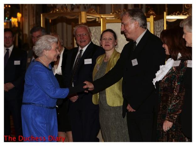 queen elizabeth meets alan rickman reception dramatic arts buckingham palace