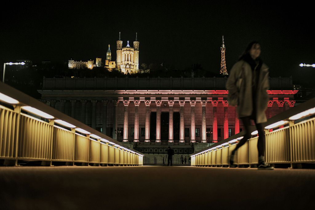 Lyon, France Court Lights Up Belgian Colors Tribute Victims 2016 Terrorist Attack