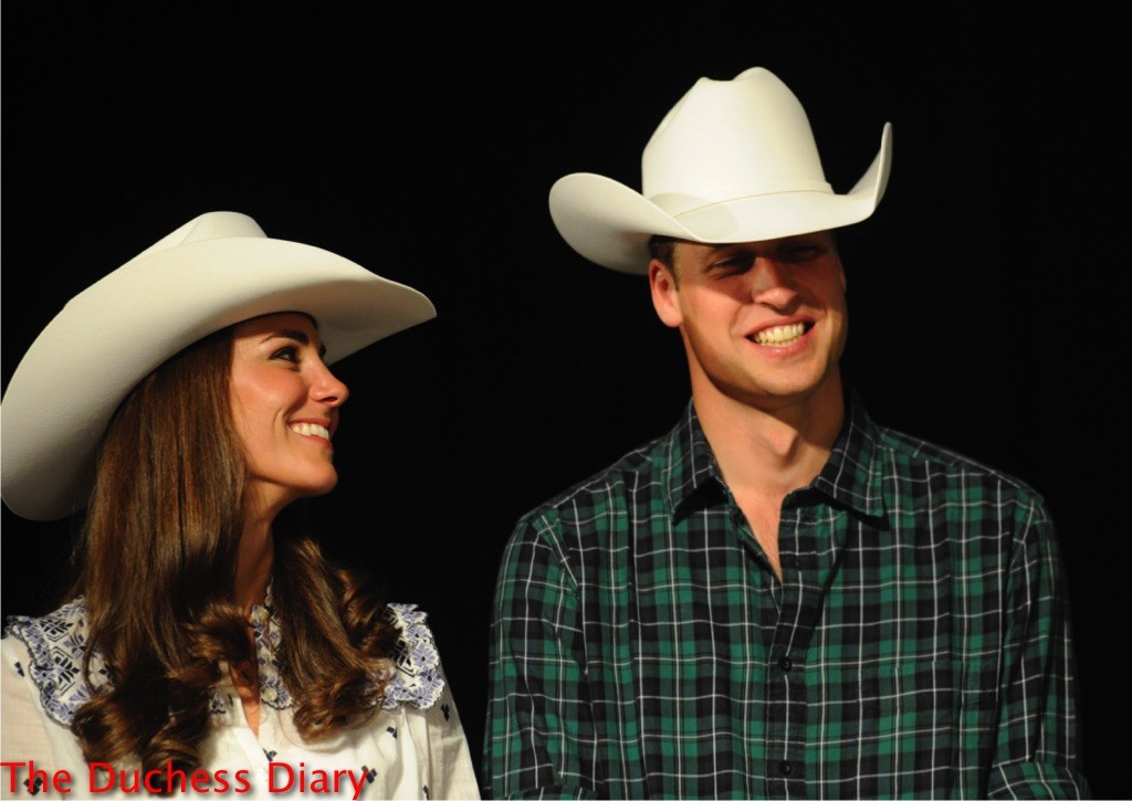 kate middleton smiles prince william cowboy hats canada