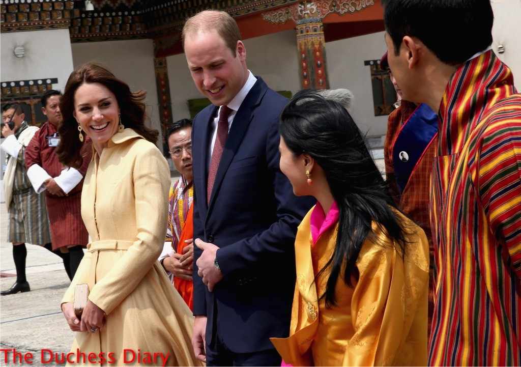 kate middleton emilia wickstead coat prince william meet king queen bhutan
