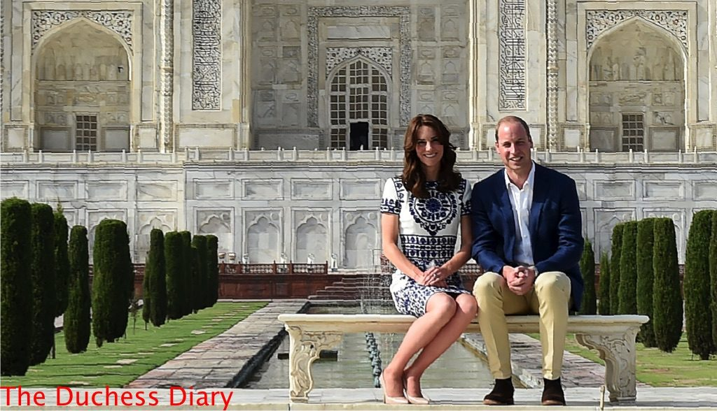 prince william kate middleton sit bench taj mahal