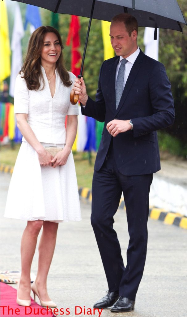 prince william kate middleton white alexander mcqueen outfit leave bhutan