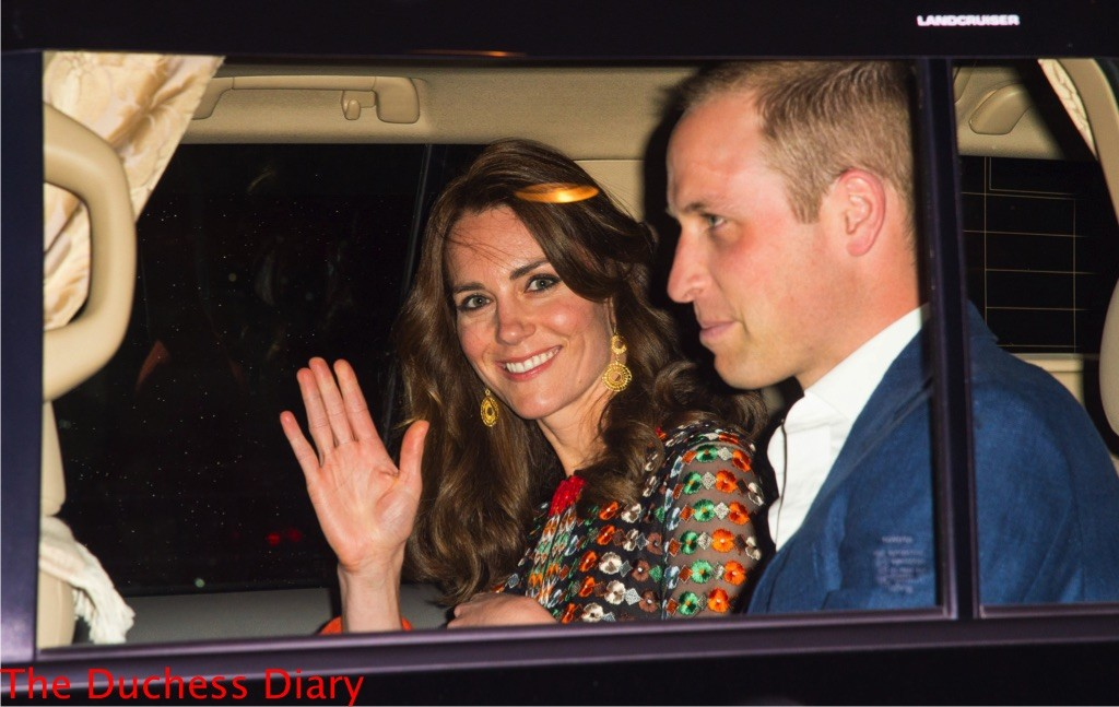 kate middleton waves prince william car bhutan private dinner