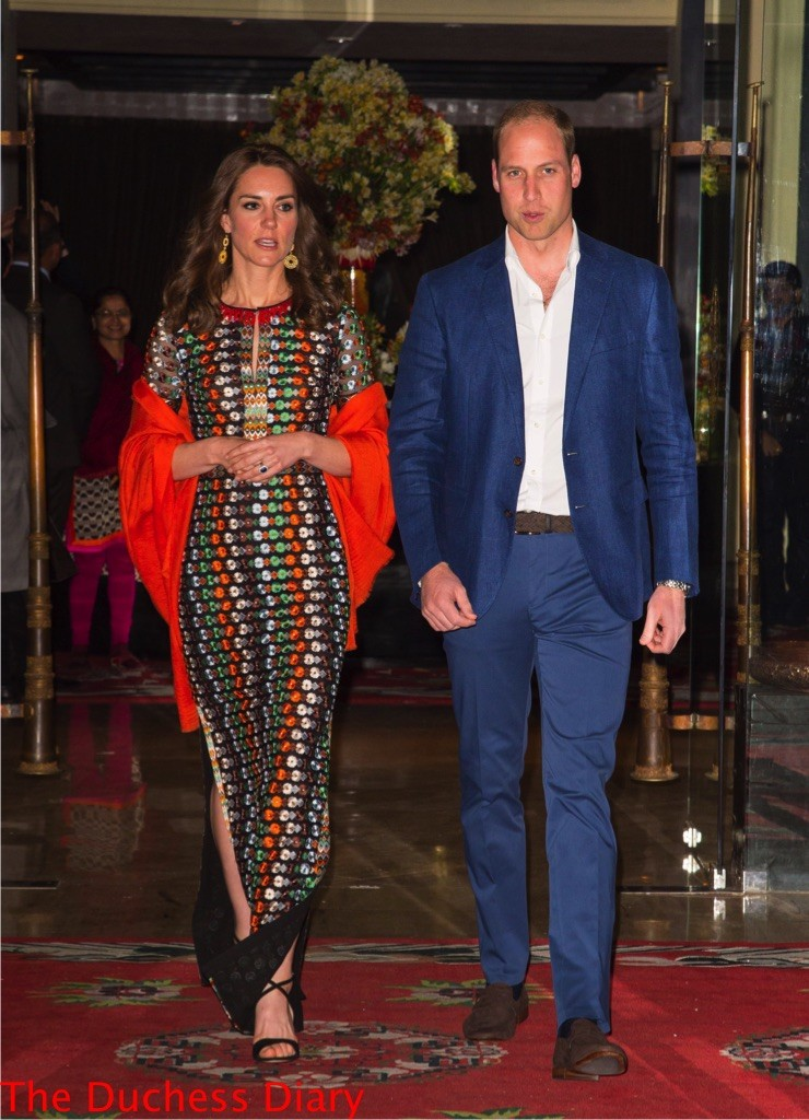 kate middleton tory burch leaves taj tashi hotel prince william