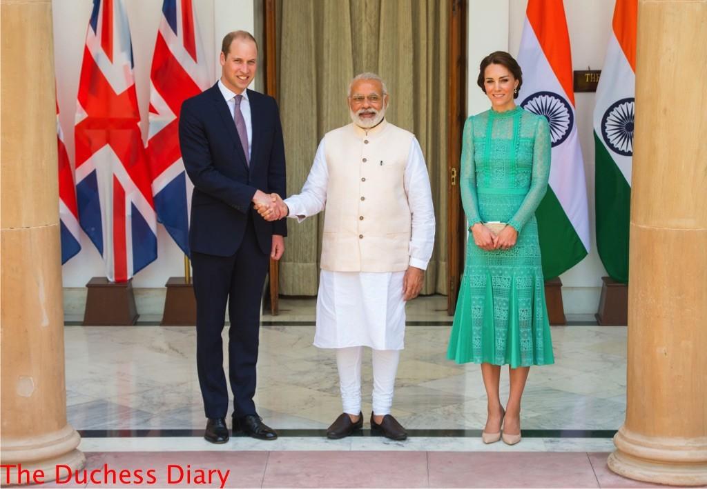 prince william shakes hand prime minister new delhi kate middleton