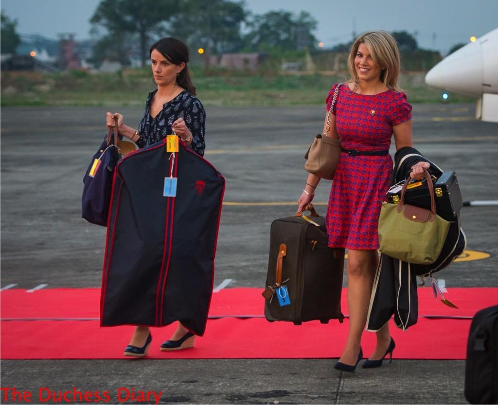 natasha archer sophie agnew take kate middleton's luggage off plane assam india