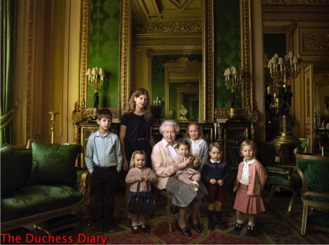 queen elizabeth poses great-grandchildren grandchildren buckingham palace