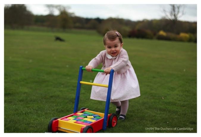 princess charlotte pushes toy blocks anmer hall