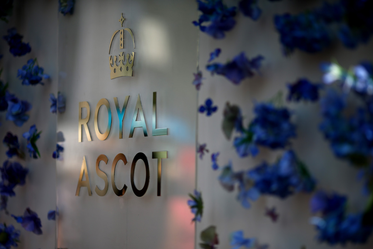 Royal Ascot Sign With Coronet and Flowers