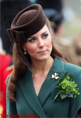 duchess of cambridge green emilia wickstead coat st. patrick's day 2012 brooch