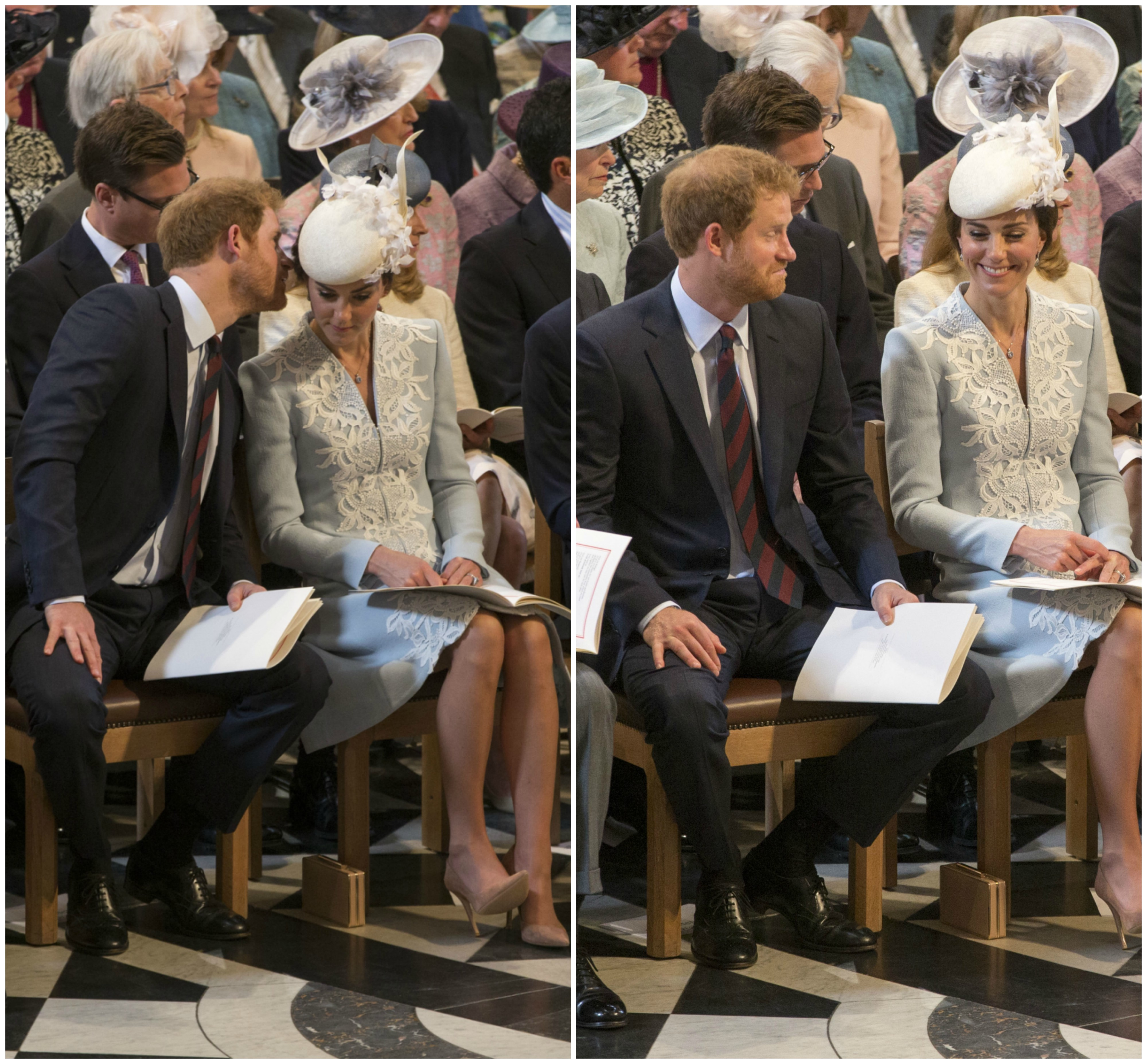 Prince Harry Duchess of Cambridge giggle st paul's cathedral queen 90th birthday