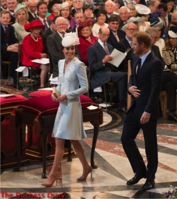 duchess of cambridge smiles looks at prince harry st paul's cathedral