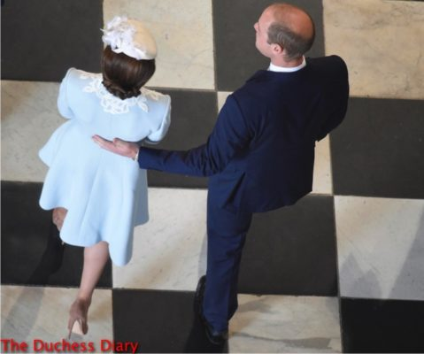 prince william rests hand catherine back service of thanksgiving queen elizabeth 90th birthday
