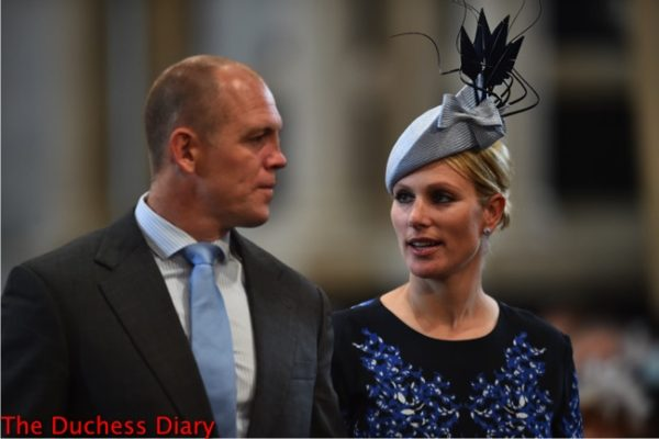 zara tindall hat mike tindall arrive national service thanksgiving