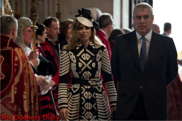 princess beatrice black white coat prince andrew arrive service thanksgiving queen 90th birthday