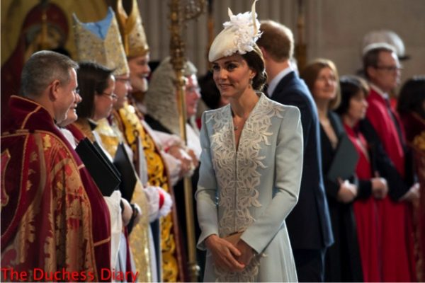 Catherine, Duchess of Cambridge arrives for a service of thanksgiving for Queen Elizabeth II's 90th birthday at St Paul's cathedral on June 10, 2016 in London, United Kingdom. (Photo by Stefan Rousseau - WPA Pool/Getty Images)