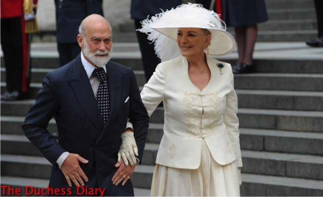 prince michael of kent princess michael kent white feather hat national service thanksgiving queen 90th birthday