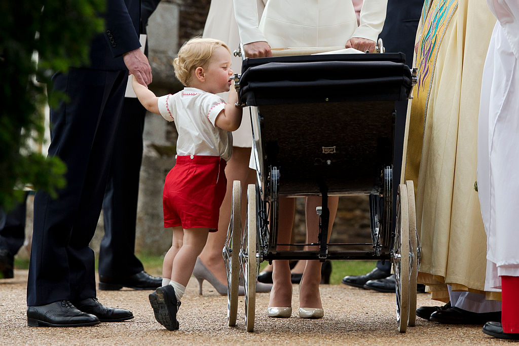 Prince George Peeks Inside Princess Charlotte Pram Royal Christening 2015