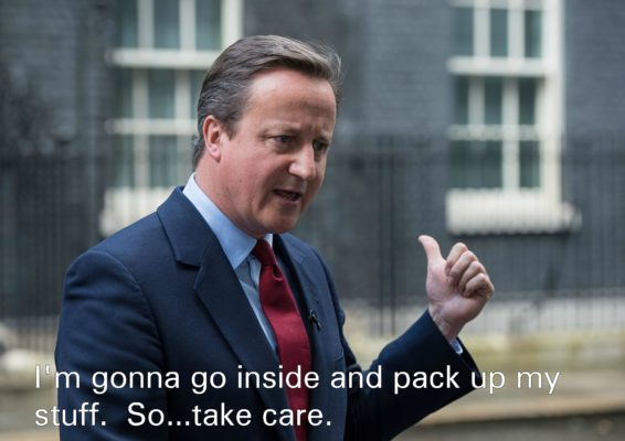 david cameron points ten downing street leaves prime minister