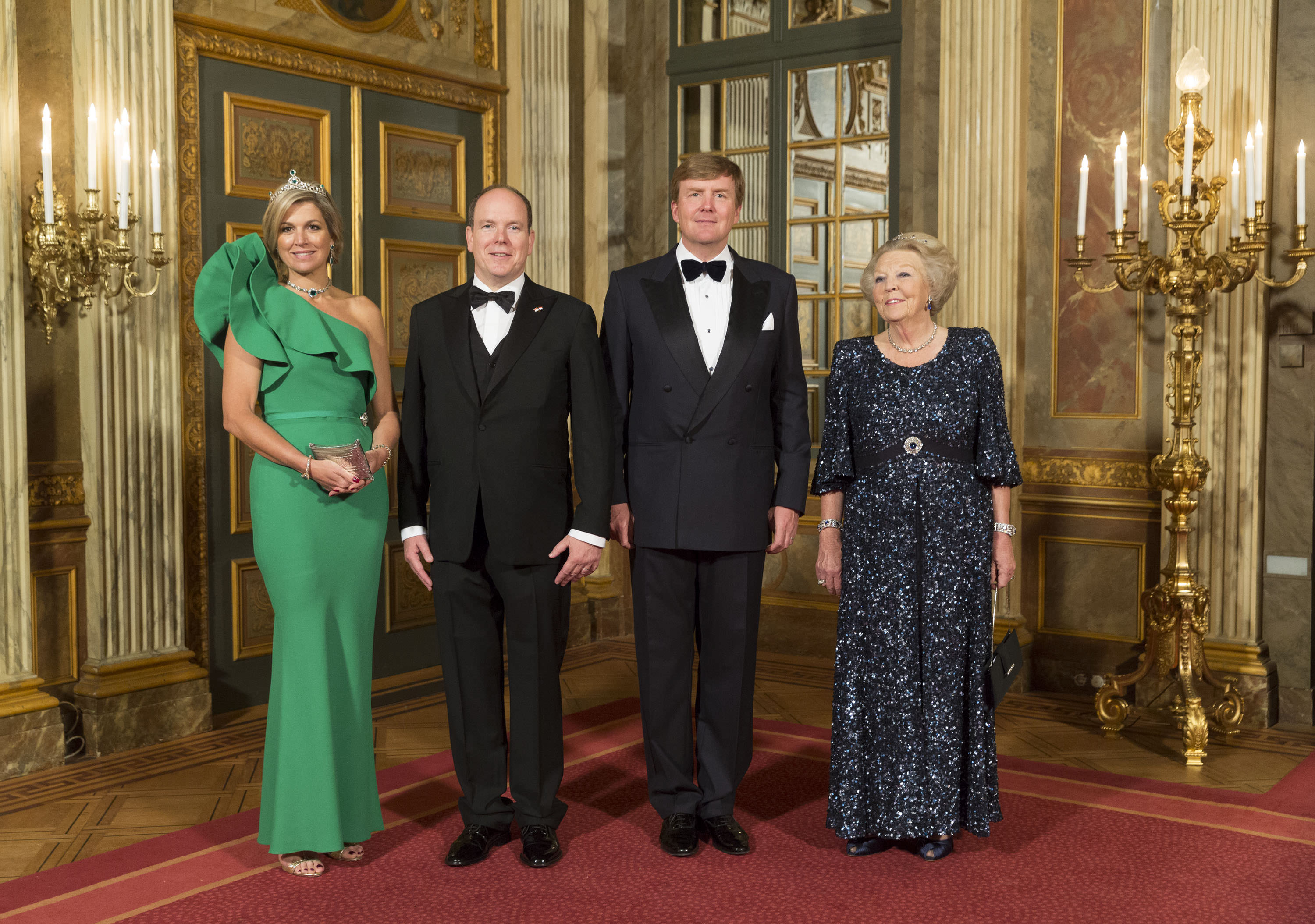 queen maxima green dress prince albert king willem-alexander princess beatrix prince albert monaco official visit