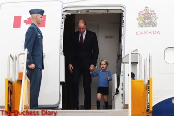 duke of cambridge holds prince george hand gets off plane victoria canada