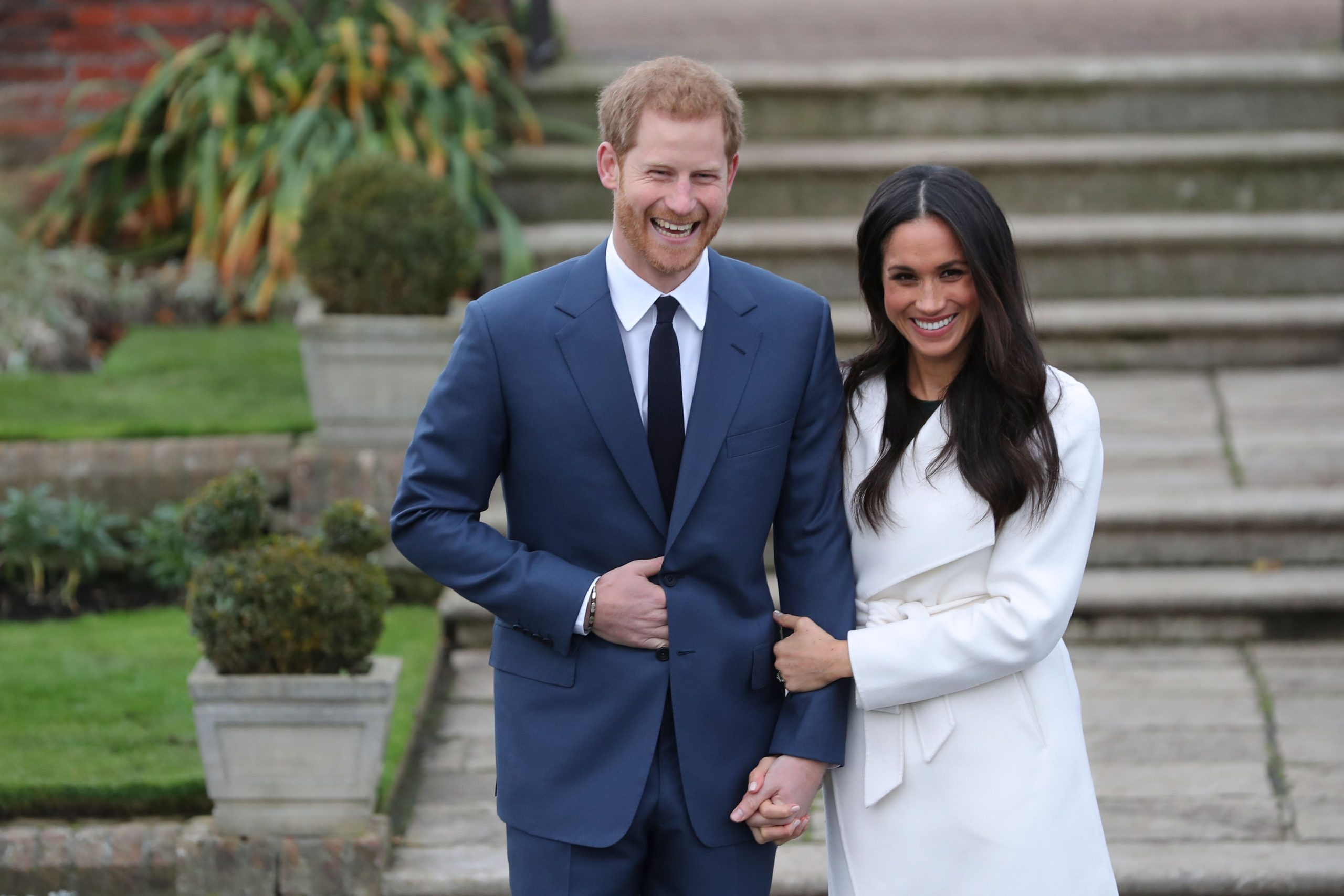 Prince Harry Laughs Meghan Markle Holds Hands Engagement Photocall Kensington Palace Gardens