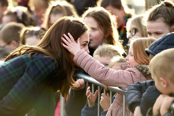 Kate Middleton Lets Girl Pink Jacket Stroke Hair Dundee