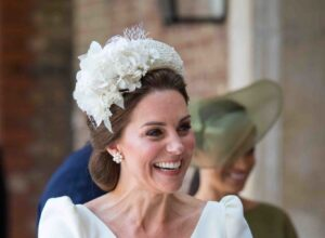 Kate Middleton Smiles Cream Jane Taylor Embellished Headband Prince Louis Christening July 2018