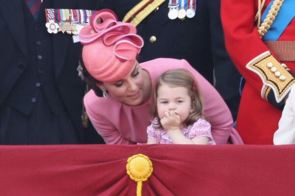 Kate Middleton Pink Outfit Leans Down Speaks to Princess Charlotte Trooping Colour 2017