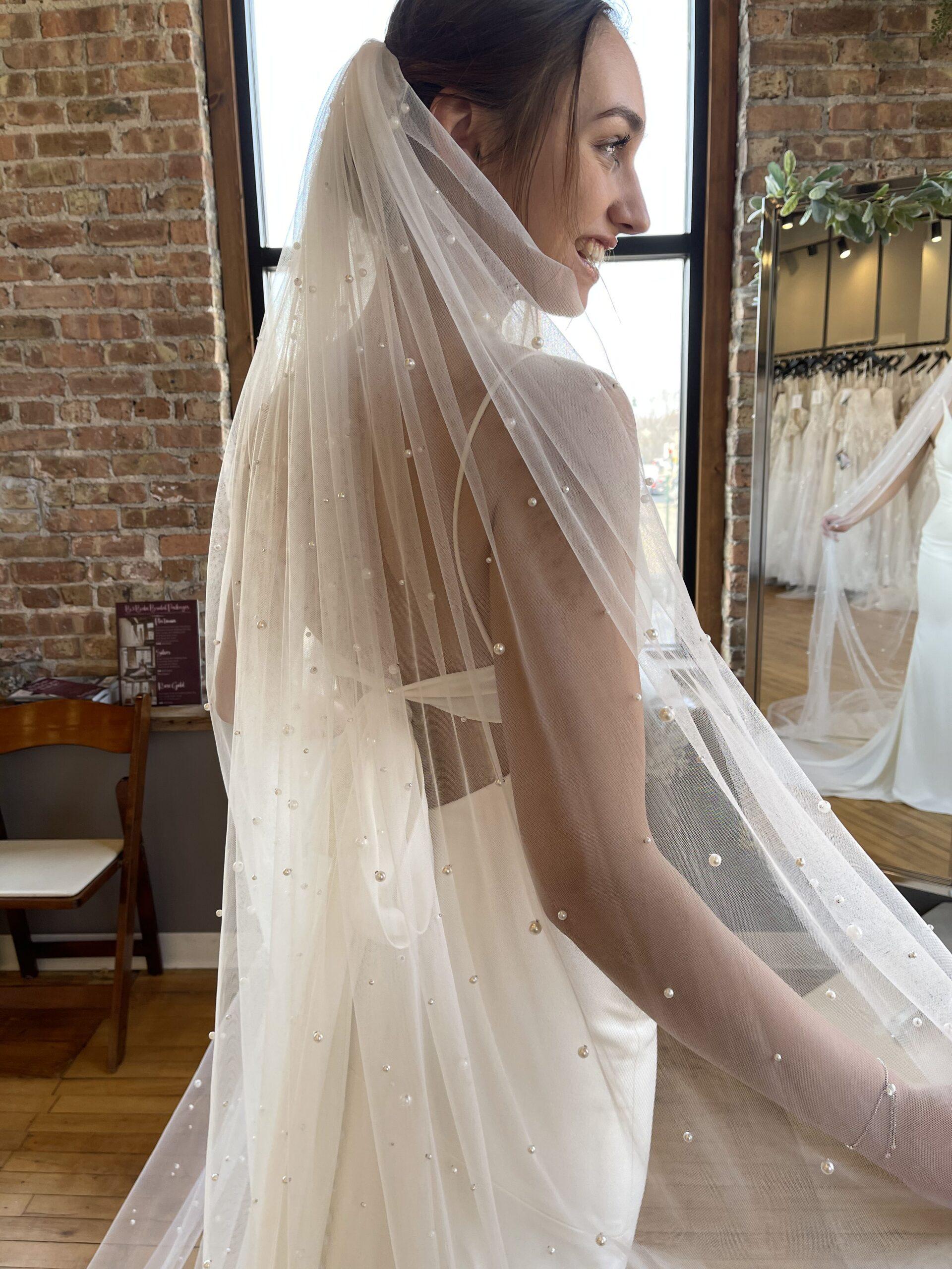 Bon Bon Belle Store | Bridal Accessories Pearl Veil | Burlington, WI