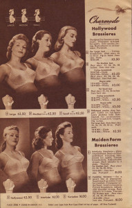 The bras of 1944. Note the variety of cup shapes.
