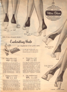 1952. So many varieties of stocking heel--look closely.