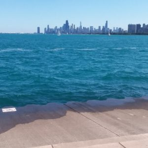 Lake Michigan and Chicago skyline viewed from Montrose Harbor