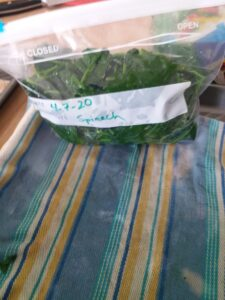 Bag of blanched spinach.