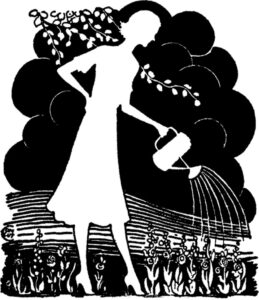 Silhouette of woman watering a garden