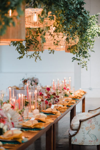 Farm Table with Hanging Greenery