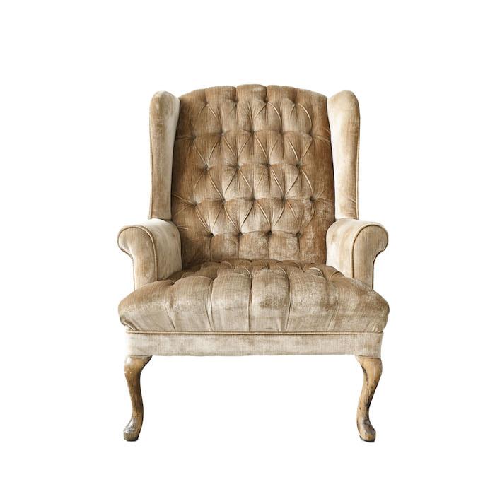 velvet tufted tan chair
