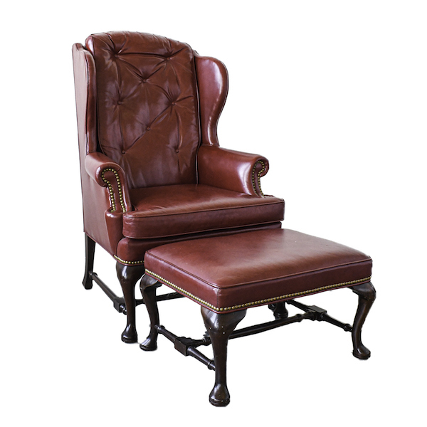 red leather wingback