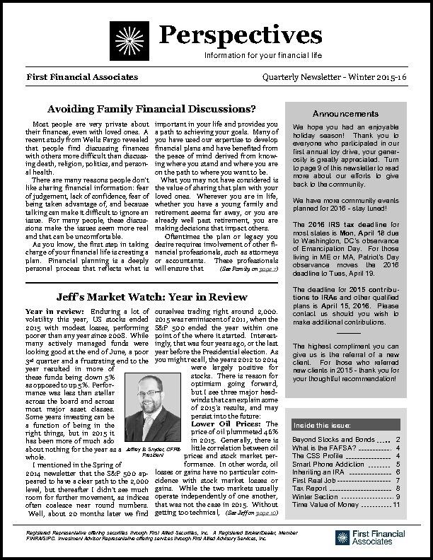 Winter Newsletter 2015-2016