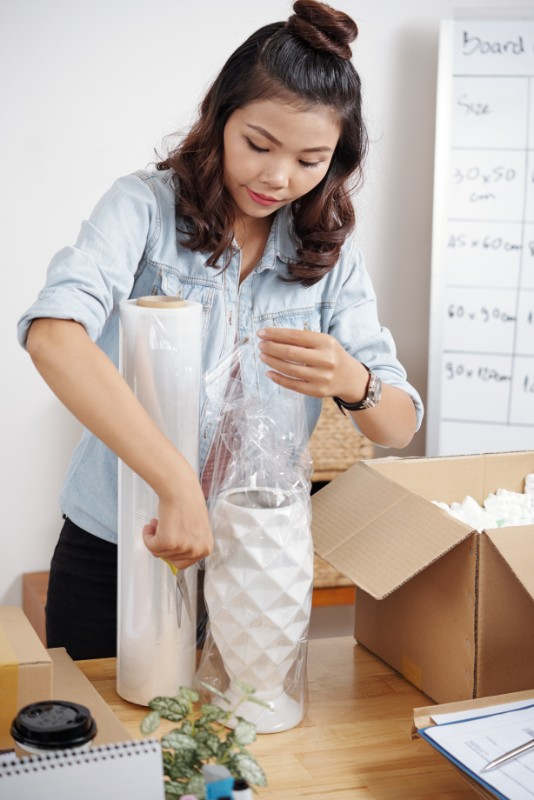 Packing a vase for shipping