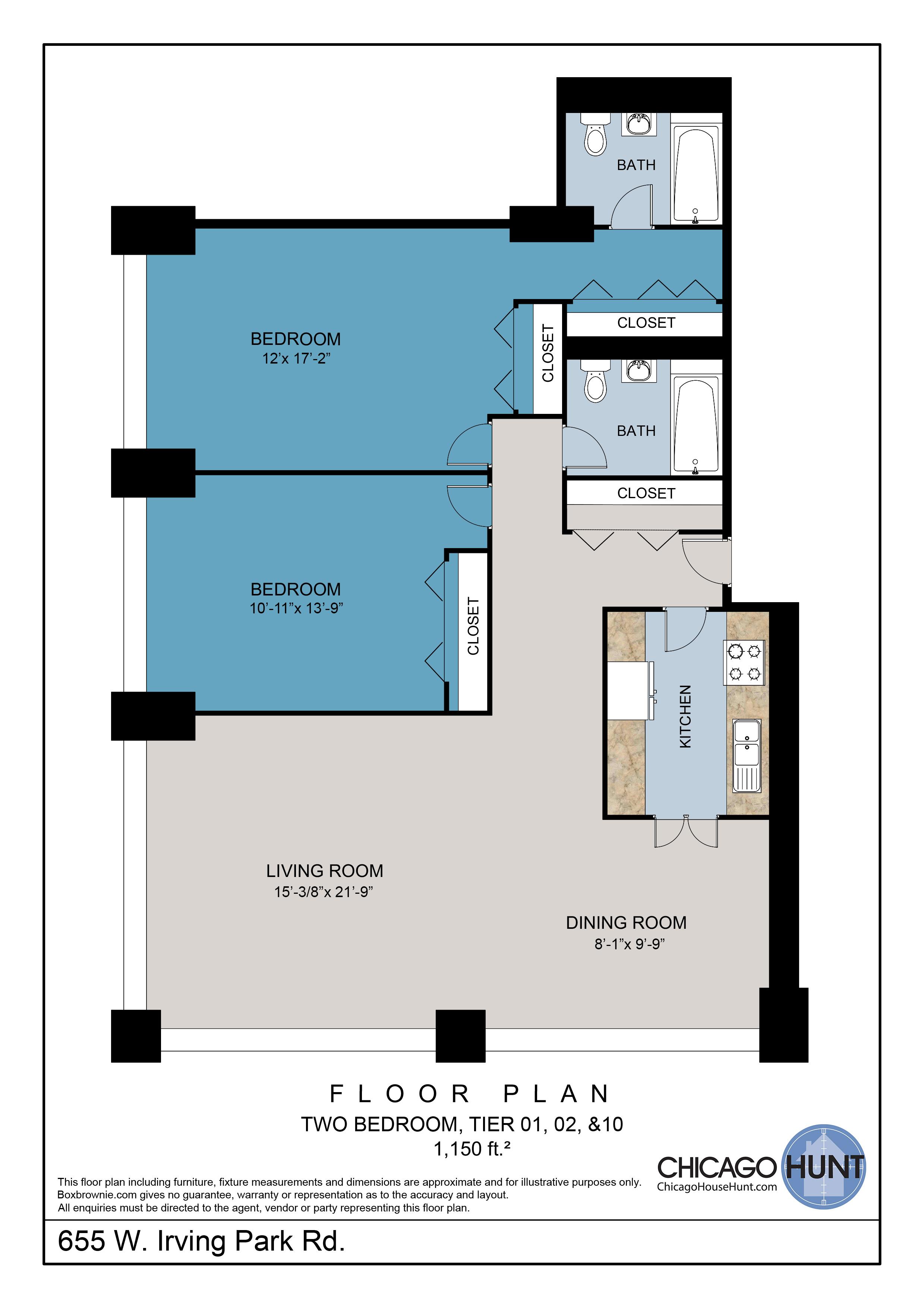 655 Irving Park, Park Place Towere - Floor Plan - Tier 01, 02, & 10