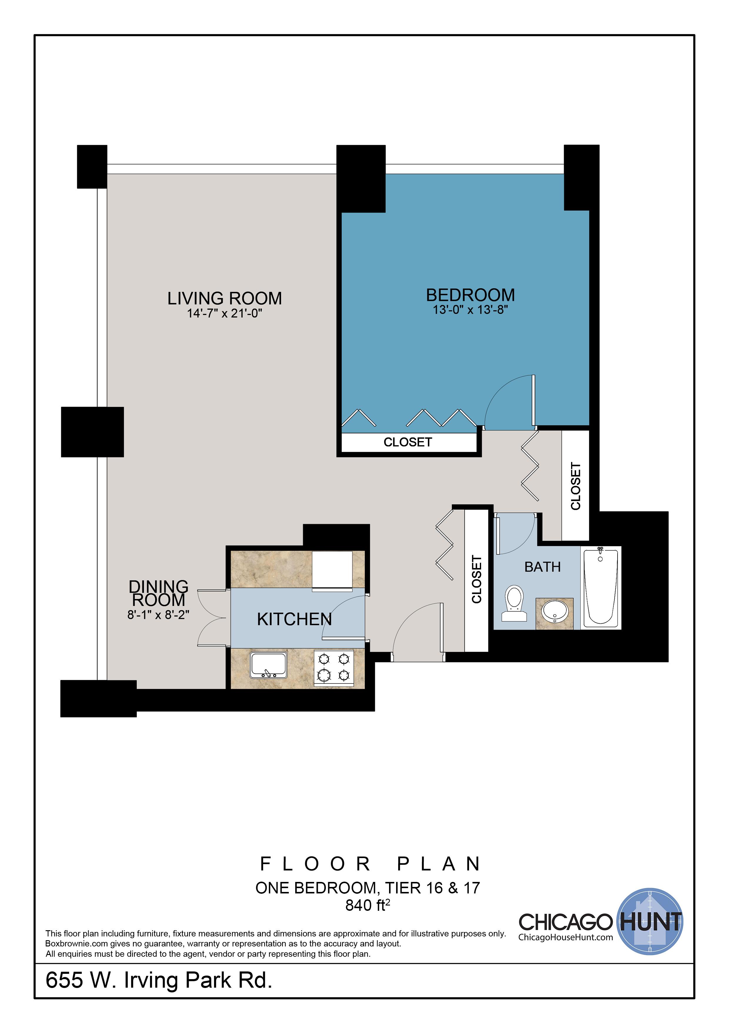 655 Irving Park, Park Place Towere - Floor Plan - Tier 16 & 17