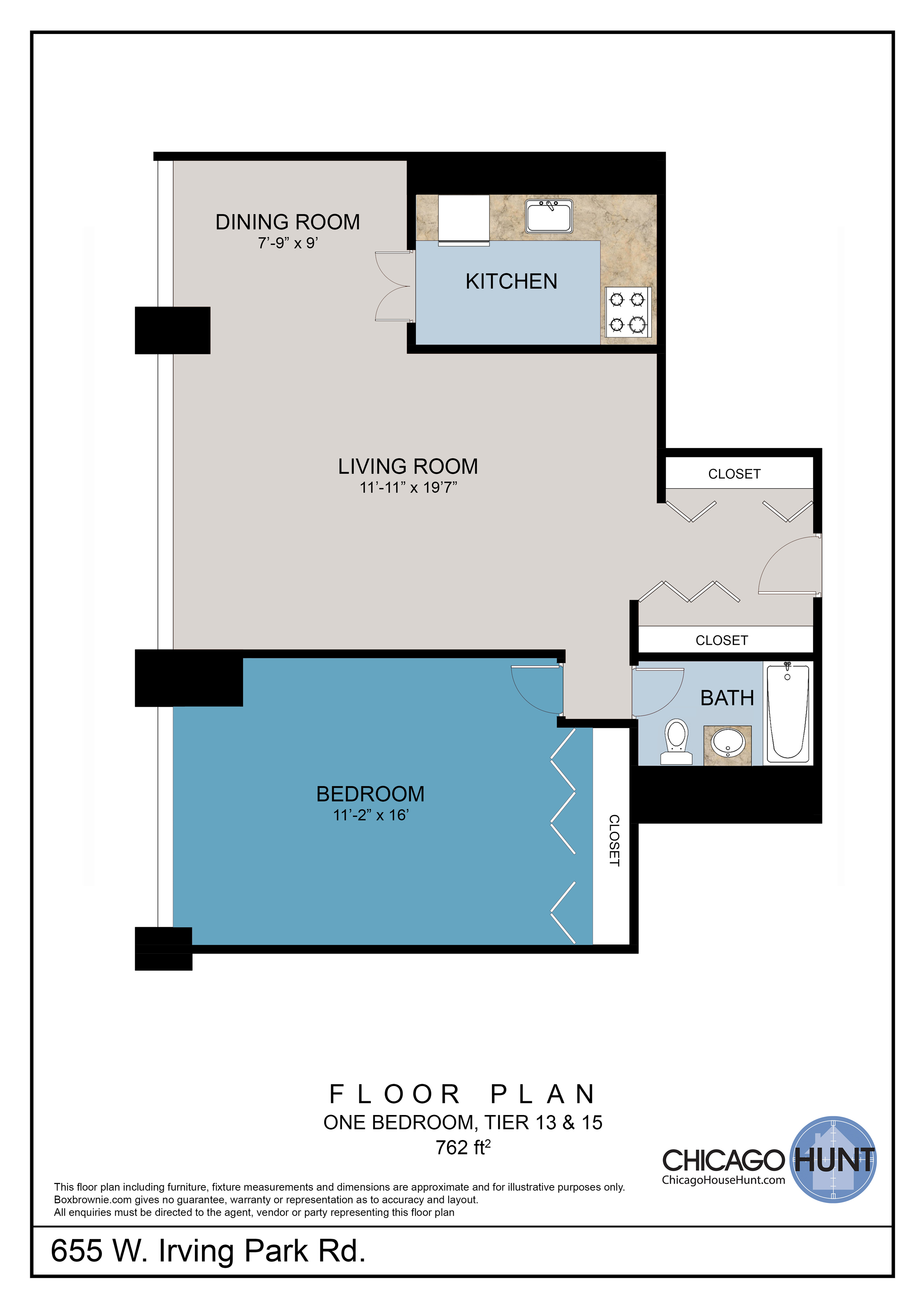 655 Irving Park, Park Place Towere - Floor Plan - Tier 13 & 15
