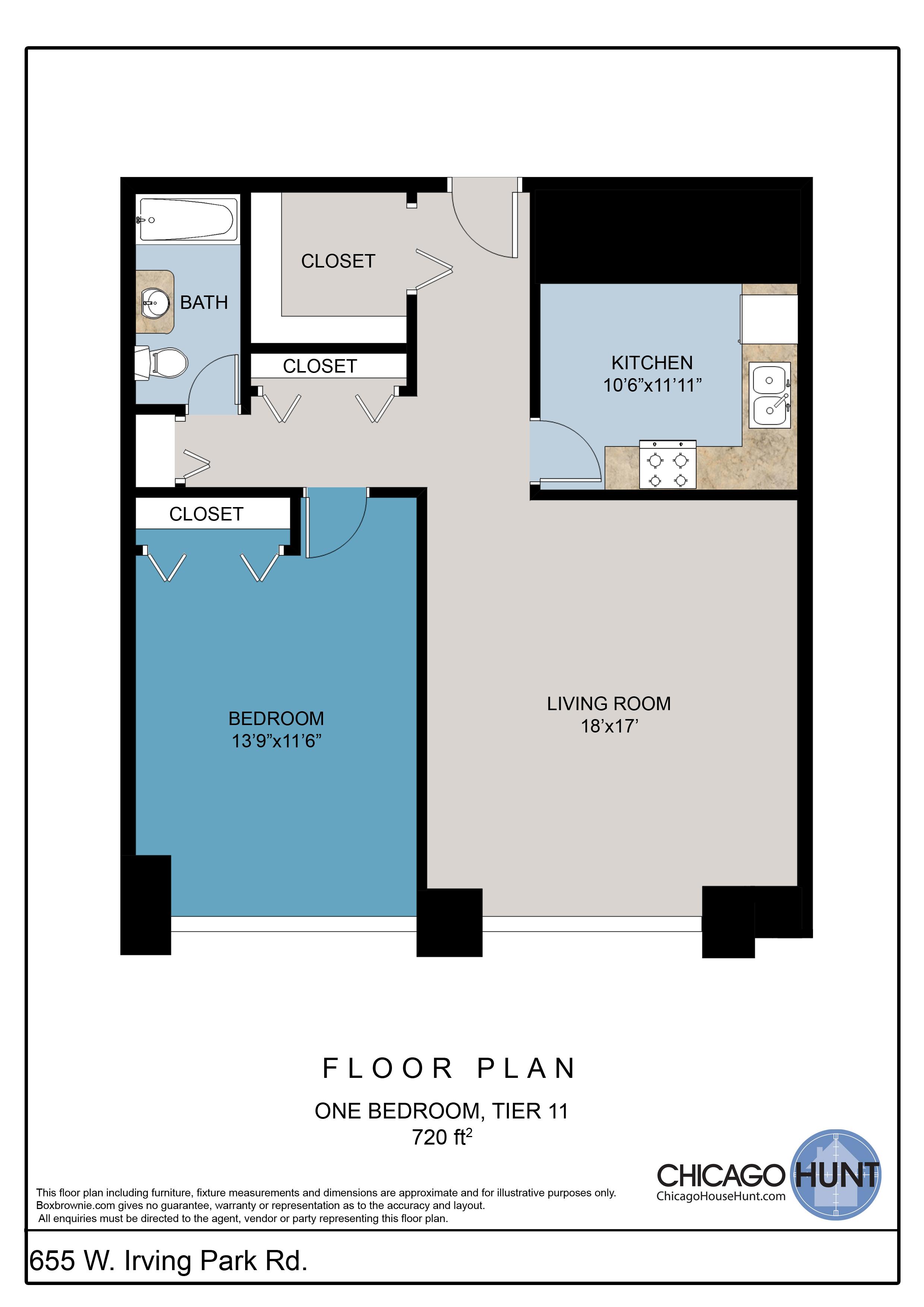 655 Irving Park, Park Place Towere - Floor Plan - Tier 11
