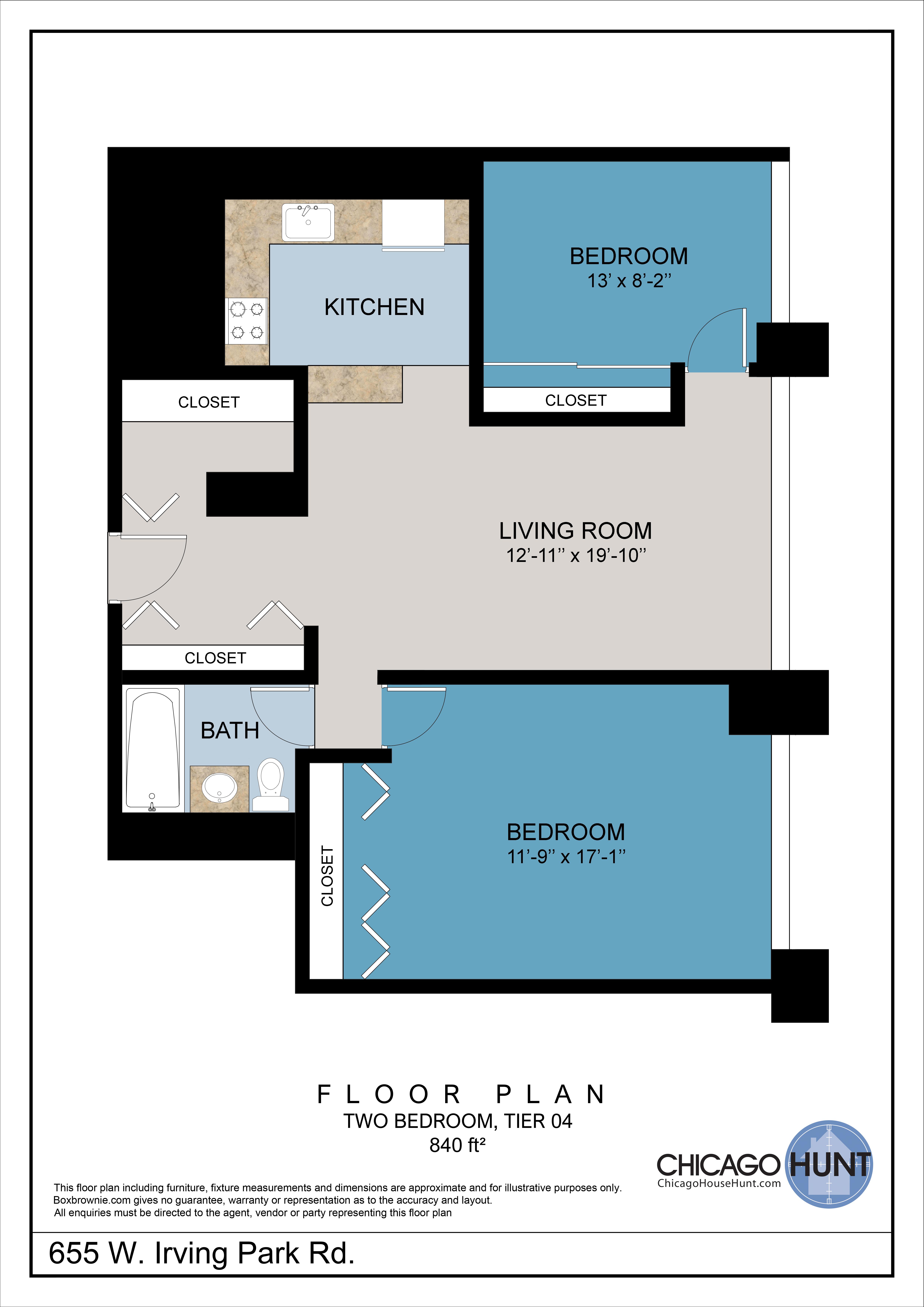 655 Irving Park, Park Place Towere - Floor Plan - Tier 04