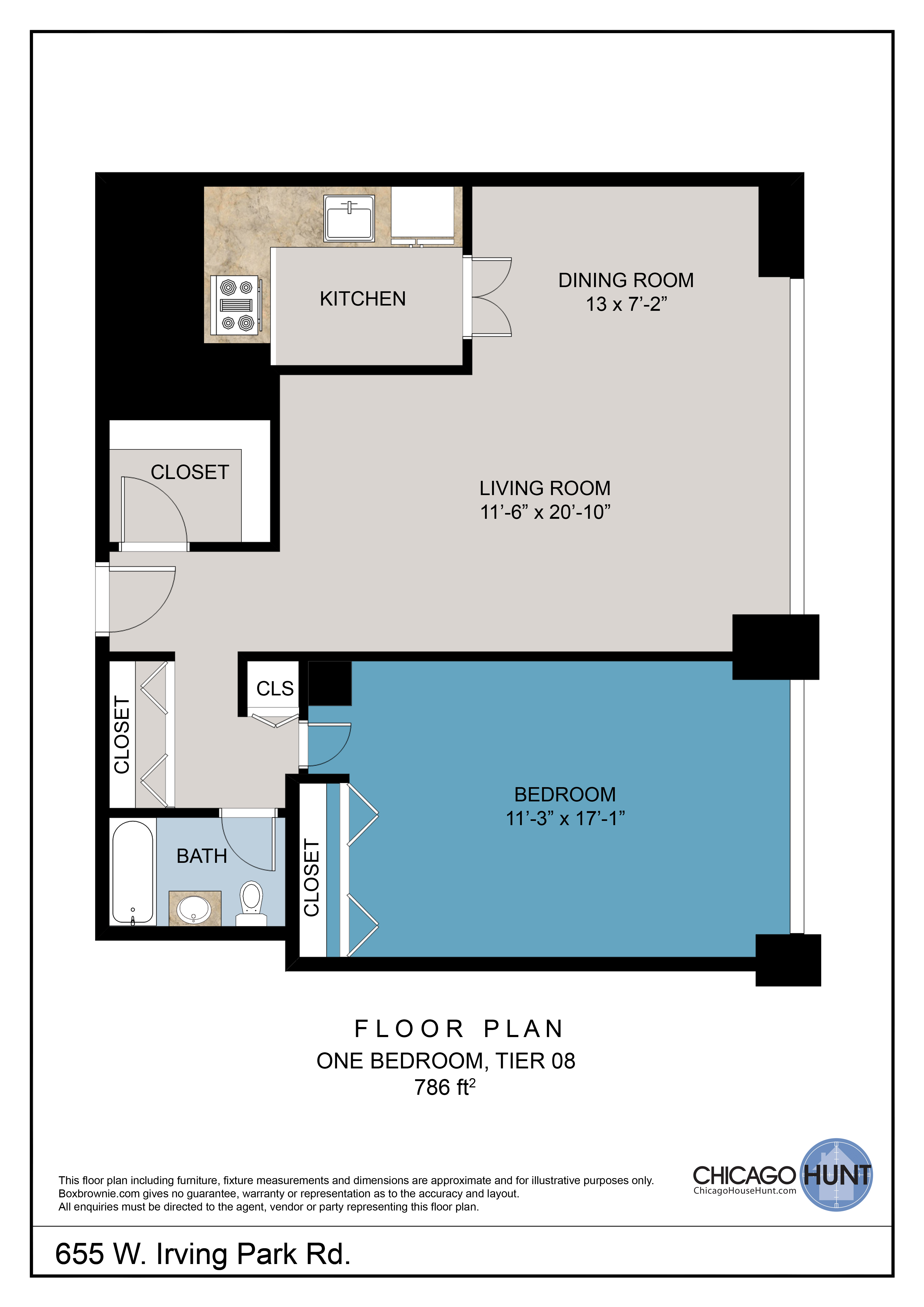 655 Irving Park, Park Place Towere - Floor Plan - Tier 08