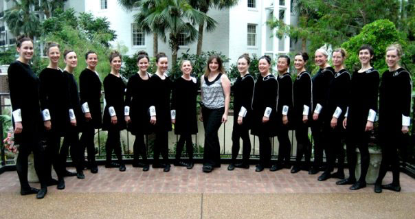 Bluegrass Ceili Academy director Megan Moloney with dancers at the 2009 Irish dance national championships in Nashville, Tennessee.